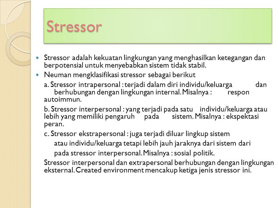 Stressor Stressor adalah kekuatan lingkungan yang menghasilkan ketegangan dan berpotensial untuk menyebabkan sistem tidak stabil.