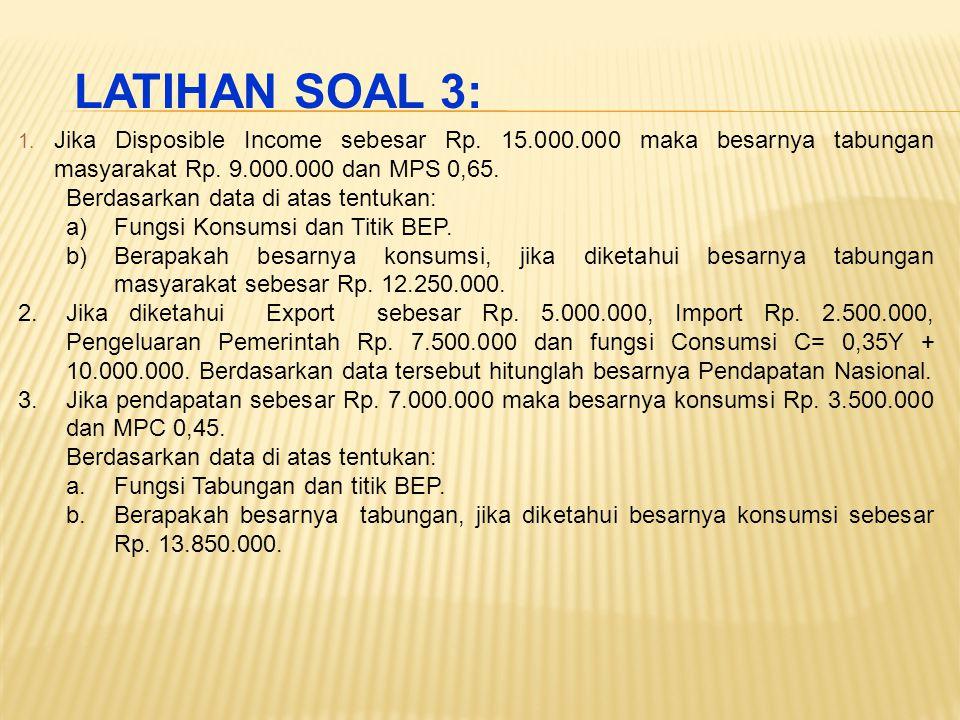 LATIHAN SOAL 3: Jika Disposible Income sebesar Rp. 15.000.000 maka besarnya tabungan masyarakat Rp. 9.000.000 dan MPS 0,65.