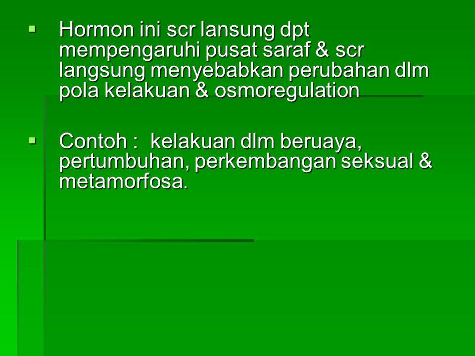 Hormon ini scr lansung dpt mempengaruhi pusat saraf & scr langsung menyebabkan perubahan dlm pola kelakuan & osmoregulation
