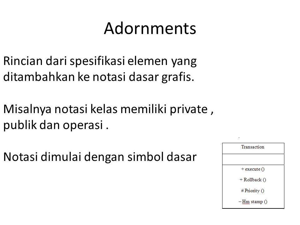 Adornments Rincian dari spesifikasi elemen yang ditambahkan ke notasi dasar grafis.