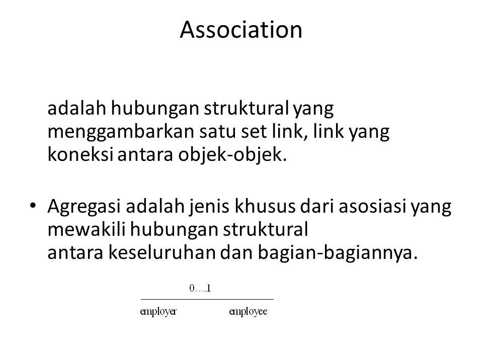 Association adalah hubungan struktural yang menggambarkan satu set link, link yang koneksi antara objek-objek.