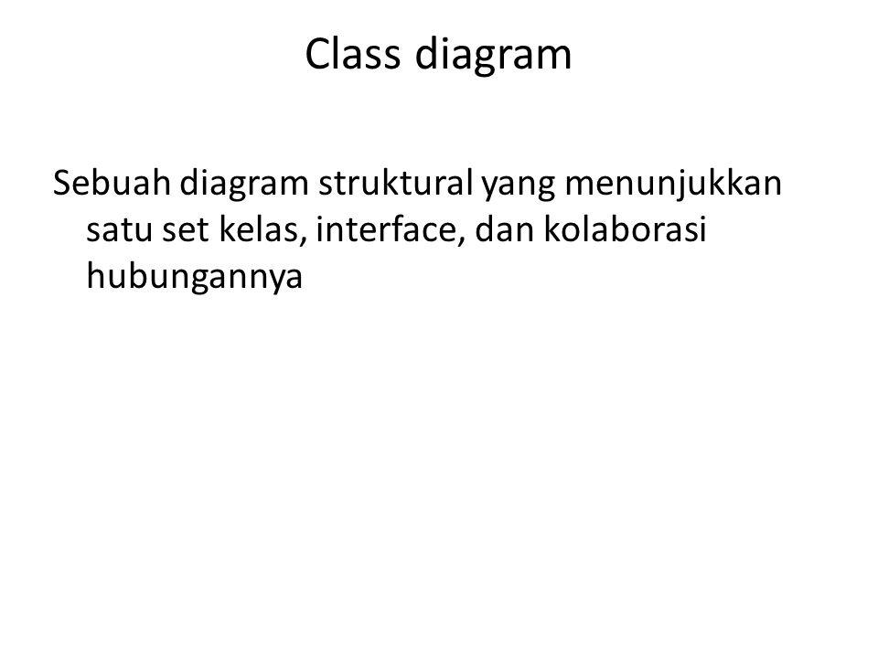 Class diagram Sebuah diagram struktural yang menunjukkan satu set kelas, interface, dan kolaborasi hubungannya.