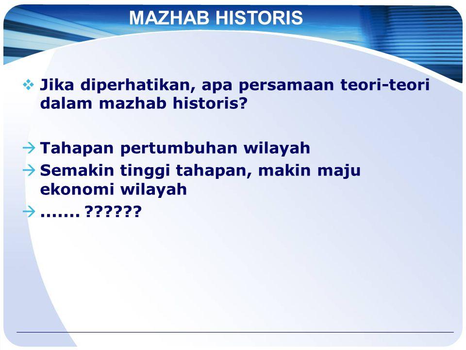 MAZHAB HISTORIS Jika diperhatikan, apa persamaan teori-teori dalam mazhab historis Tahapan pertumbuhan wilayah.