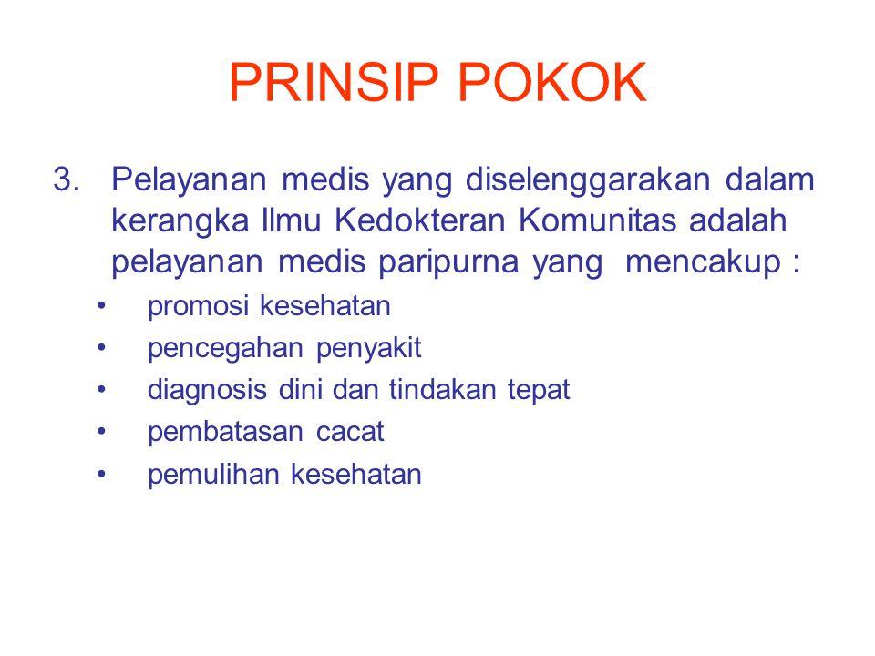 PRINSIP POKOK Pelayanan medis yang diselenggarakan dalam kerangka Ilmu Kedokteran Komunitas adalah pelayanan medis paripurna yang mencakup :