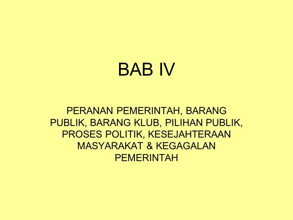 BAB IV PERANAN PEMERINTAH, BARANG PUBLIK, BARANG KLUB, PILIHAN PUBLIK, PROSES POLITIK, KESEJAHTERAAN MASYARAKAT & KEGAGALAN PEMERINTAH.