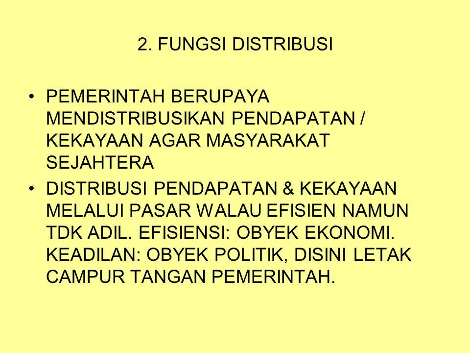 2. FUNGSI DISTRIBUSI PEMERINTAH BERUPAYA MENDISTRIBUSIKAN PENDAPATAN / KEKAYAAN AGAR MASYARAKAT SEJAHTERA.