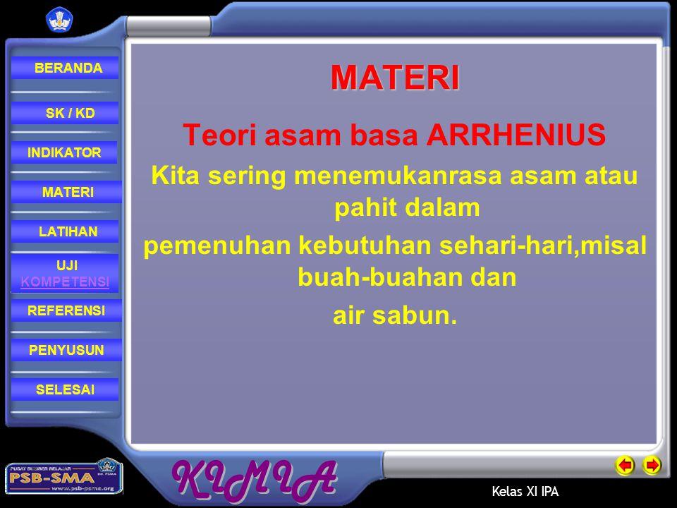 MATERI Teori asam basa ARRHENIUS