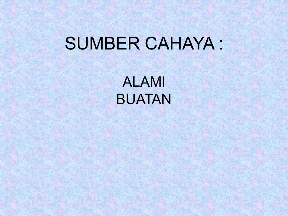 SUMBER CAHAYA : ALAMI BUATAN