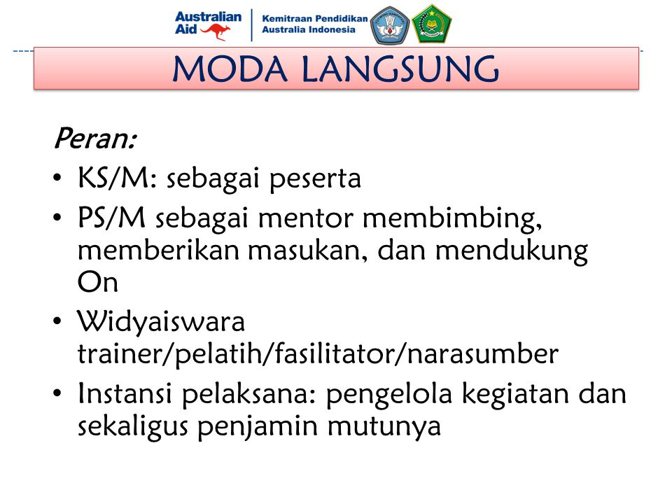 MODA LANGSUNG Peran: KS/M: sebagai peserta
