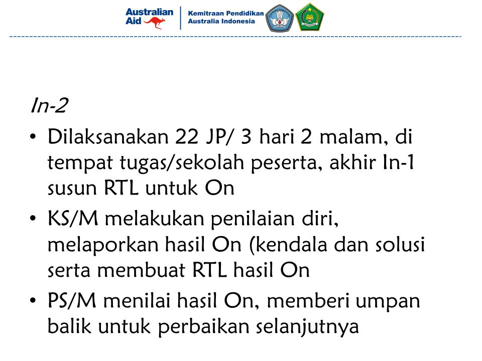 In-2 Dilaksanakan 22 JP/ 3 hari 2 malam, di tempat tugas/sekolah peserta, akhir In-1 susun RTL untuk On.