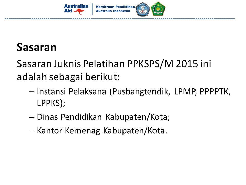 Sasaran Sasaran Juknis Pelatihan PPKSPS/M 2015 ini adalah sebagai berikut: Instansi Pelaksana (Pusbangtendik, LPMP, PPPPTK, LPPKS);
