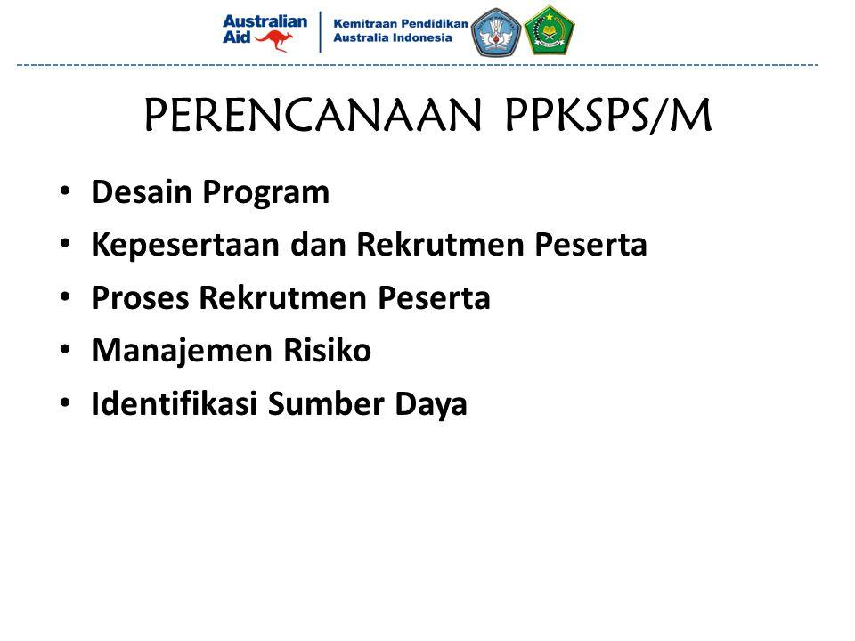 PERENCANAAN PPKSPS/M Desain Program Kepesertaan dan Rekrutmen Peserta