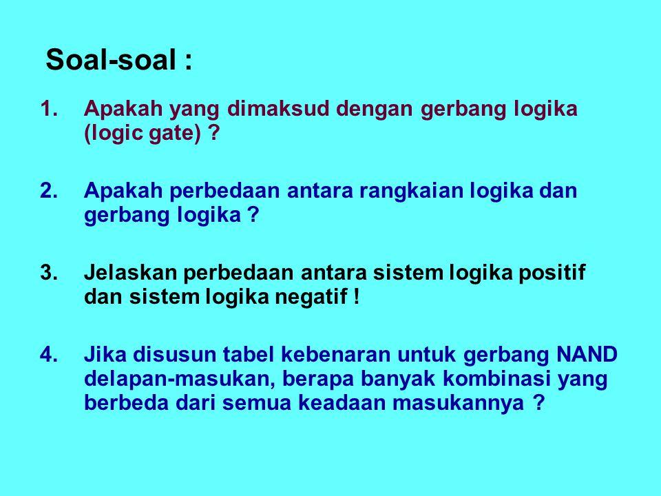 Soal-soal : Apakah yang dimaksud dengan gerbang logika (logic gate)