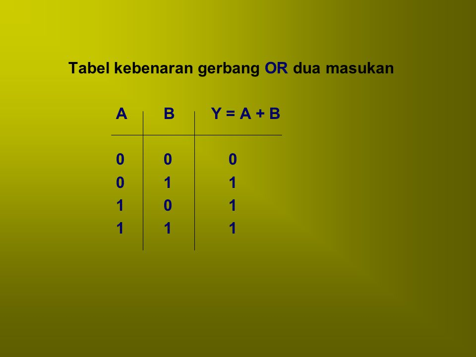 Tabel kebenaran gerbang OR dua masukan