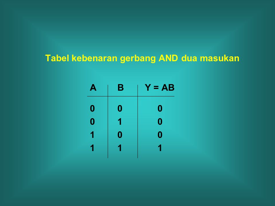 Tabel kebenaran gerbang AND dua masukan