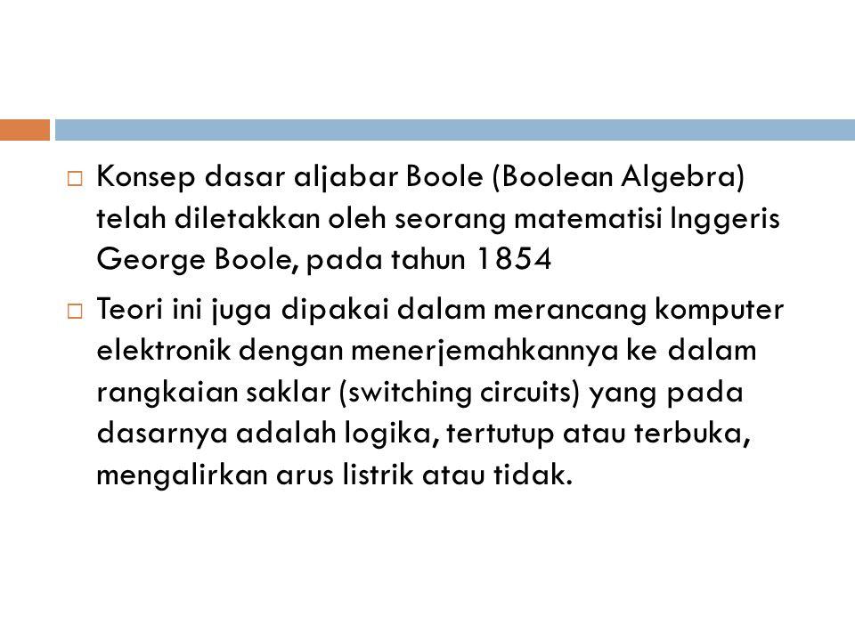 Konsep dasar aljabar Boole (Boolean Algebra) telah diletakkan oleh seorang matematisi Inggeris George Boole, pada tahun 1854