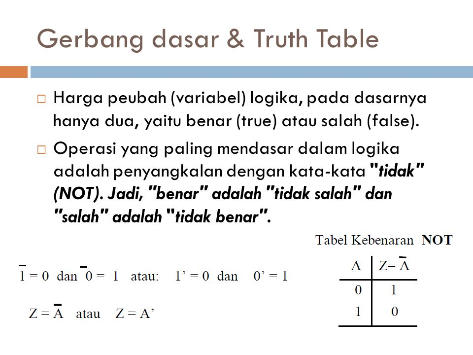 Gerbang dasar & Truth Table