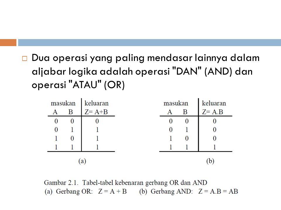 Dua operasi yang paling mendasar lainnya dalam aljabar logika adalah operasi DAN (AND) dan operasi ATAU (OR)