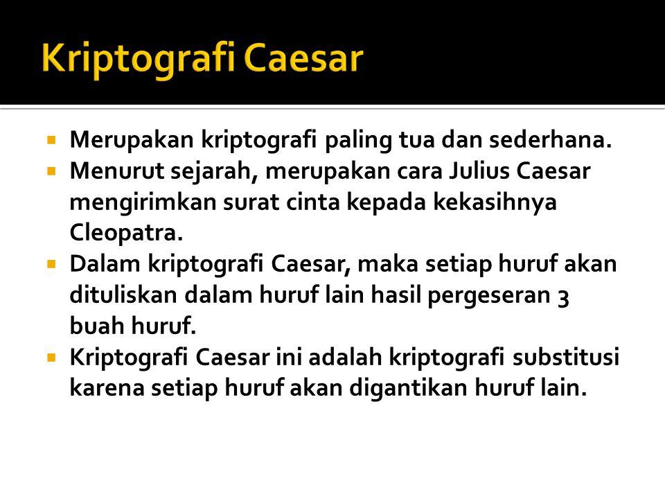 Kriptografi Caesar Merupakan kriptografi paling tua dan sederhana.