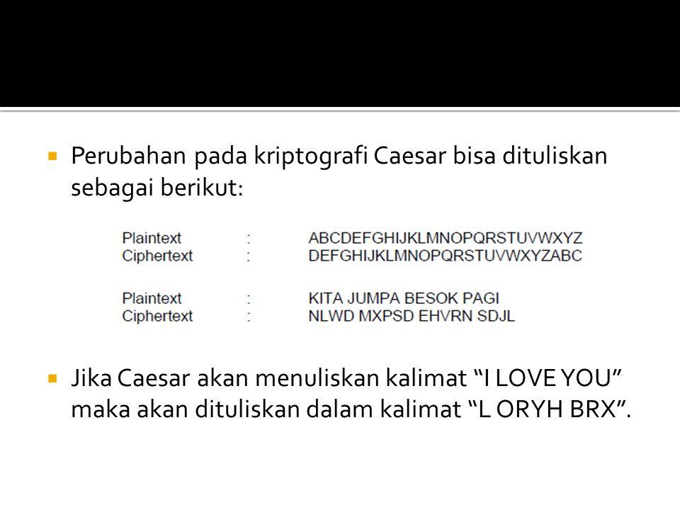 Perubahan pada kriptografi Caesar bisa dituliskan sebagai berikut: