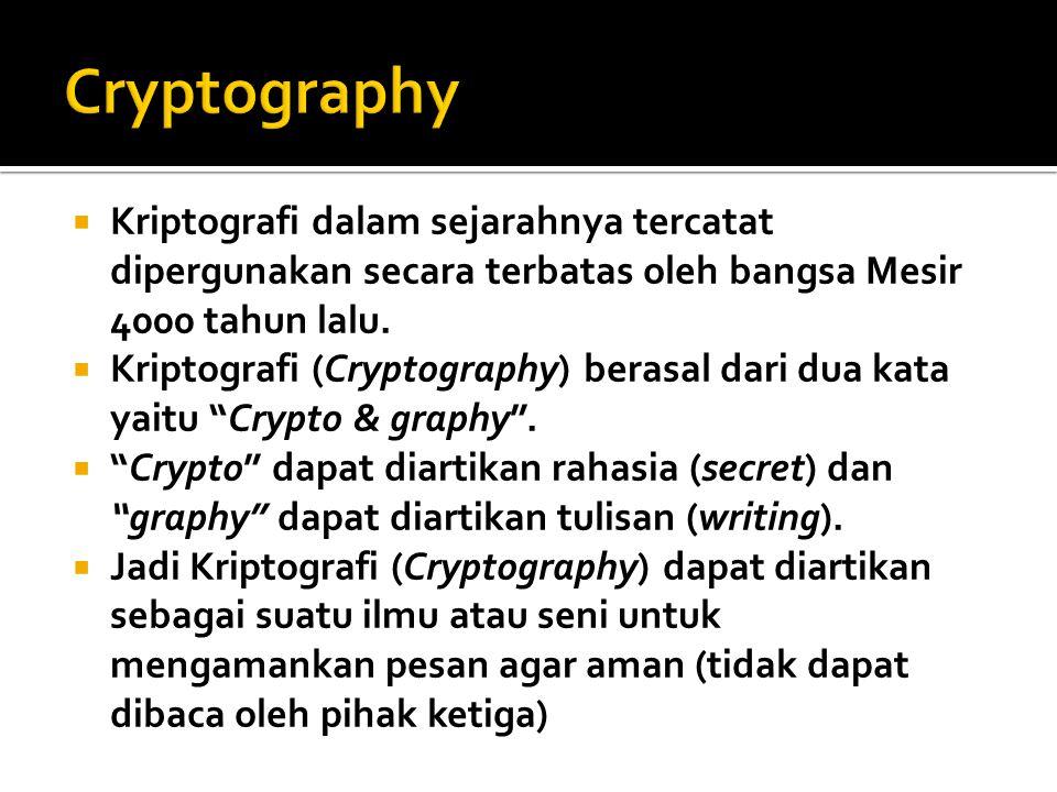 Cryptography Kriptografi dalam sejarahnya tercatat dipergunakan secara terbatas oleh bangsa Mesir 4000 tahun lalu.
