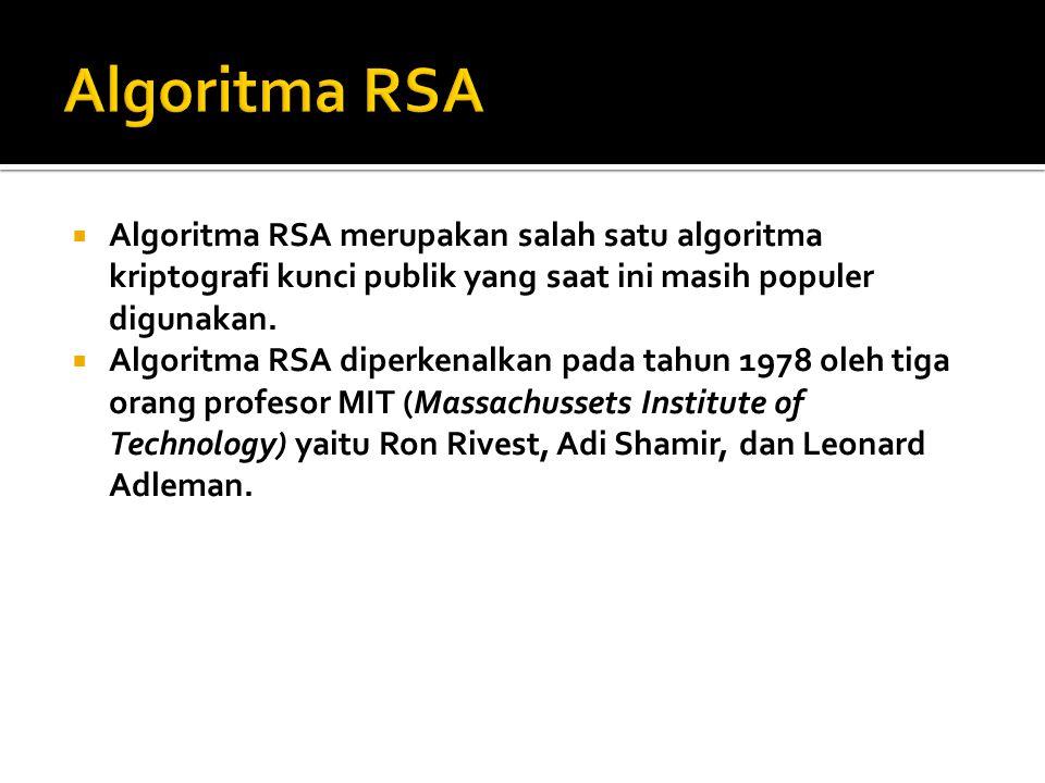 Algoritma RSA Algoritma RSA merupakan salah satu algoritma kriptografi kunci publik yang saat ini masih populer digunakan.