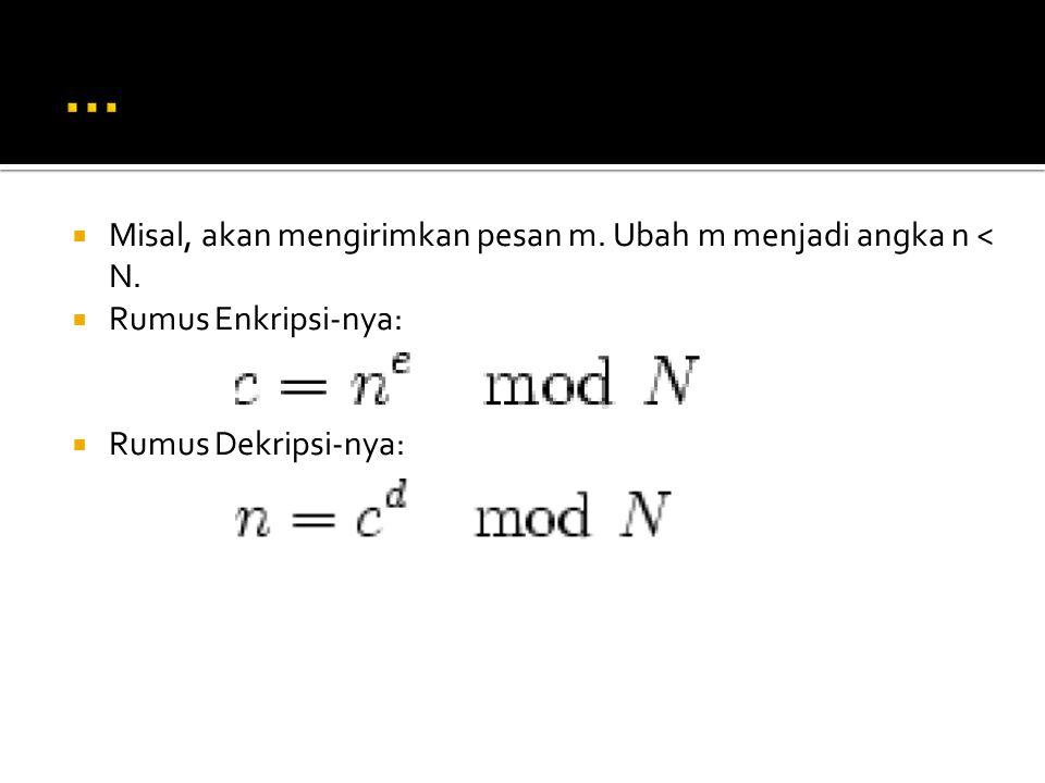 … Misal, akan mengirimkan pesan m. Ubah m menjadi angka n < N.