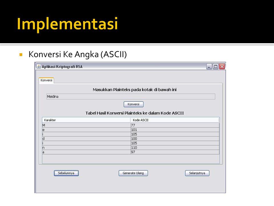 Implementasi Konversi Ke Angka (ASCII)