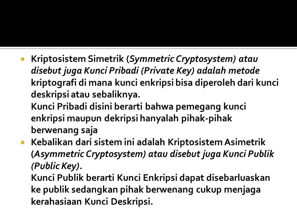 Kriptosistem Simetrik (Symmetric Cryptosystem) atau disebut juga Kunci Pribadi (Private Key) adalah metode kriptografi di mana kunci enkripsi bisa diperoleh dari kunci deskripsi atau sebaliknya.
