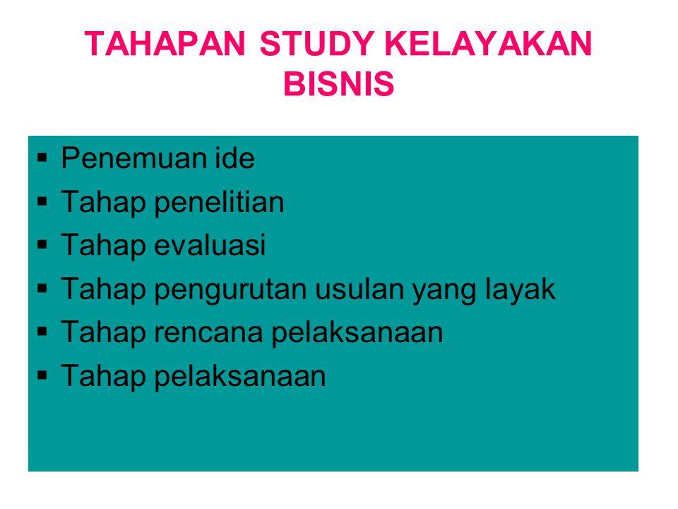TAHAPAN STUDY KELAYAKAN BISNIS