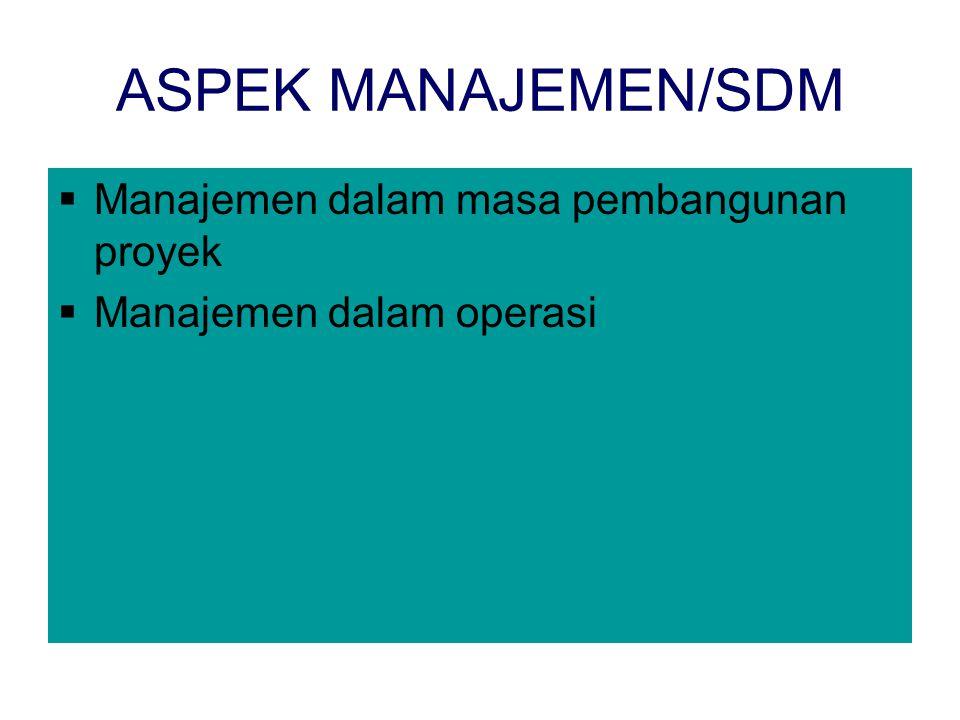 ASPEK MANAJEMEN/SDM Manajemen dalam masa pembangunan proyek