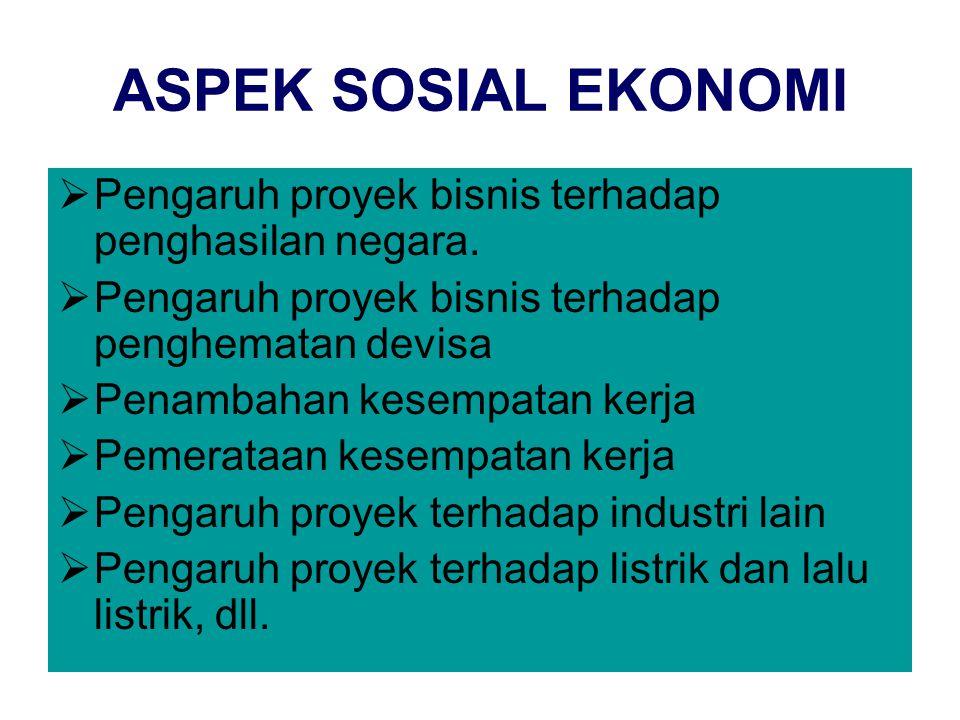 ASPEK SOSIAL EKONOMI Pengaruh proyek bisnis terhadap penghasilan negara. Pengaruh proyek bisnis terhadap penghematan devisa.