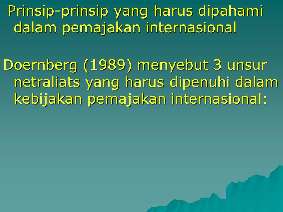Prinsip-prinsip yang harus dipahami dalam pemajakan internasional