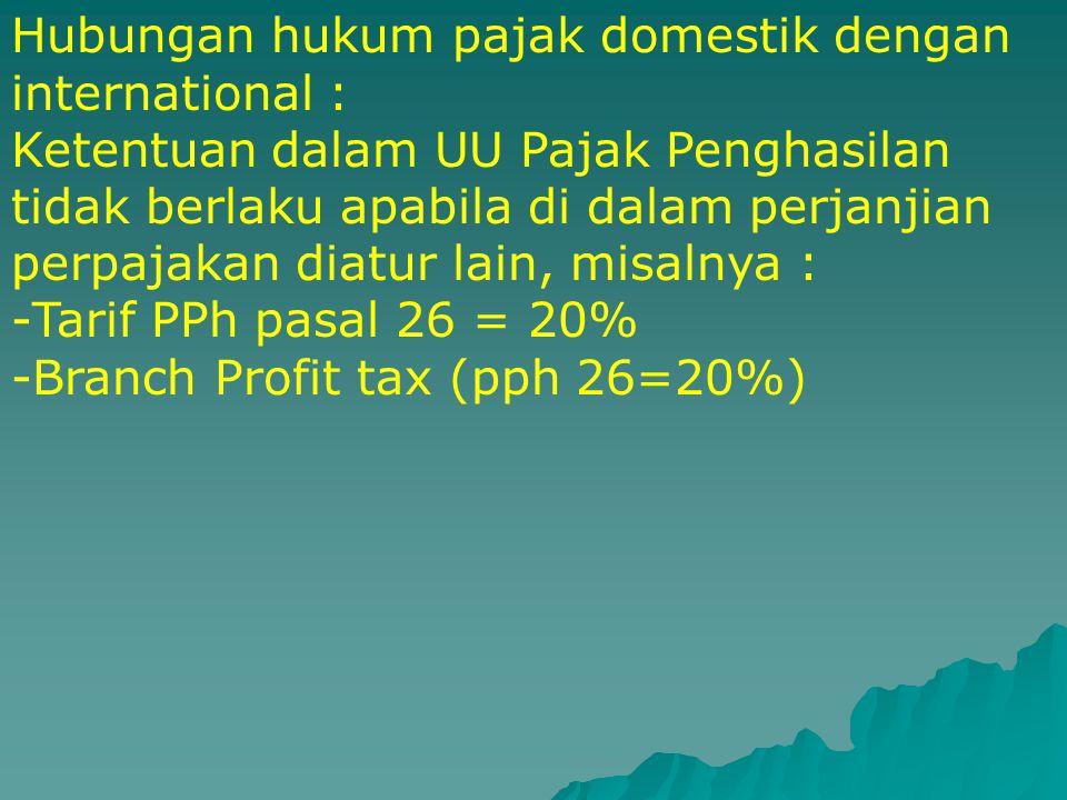 Hubungan hukum pajak domestik dengan international :
