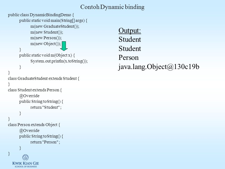 Contoh Dynamic binding