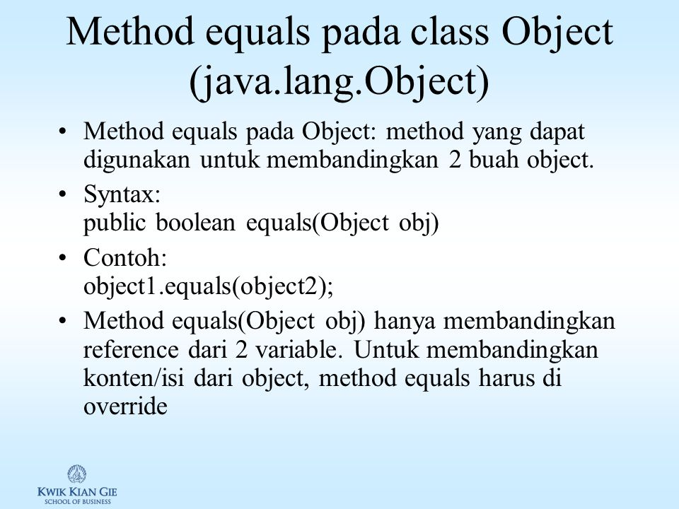 Method equals pada class Object (java.lang.Object)