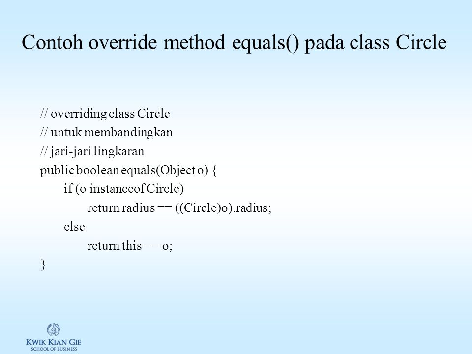 Contoh override method equals() pada class Circle
