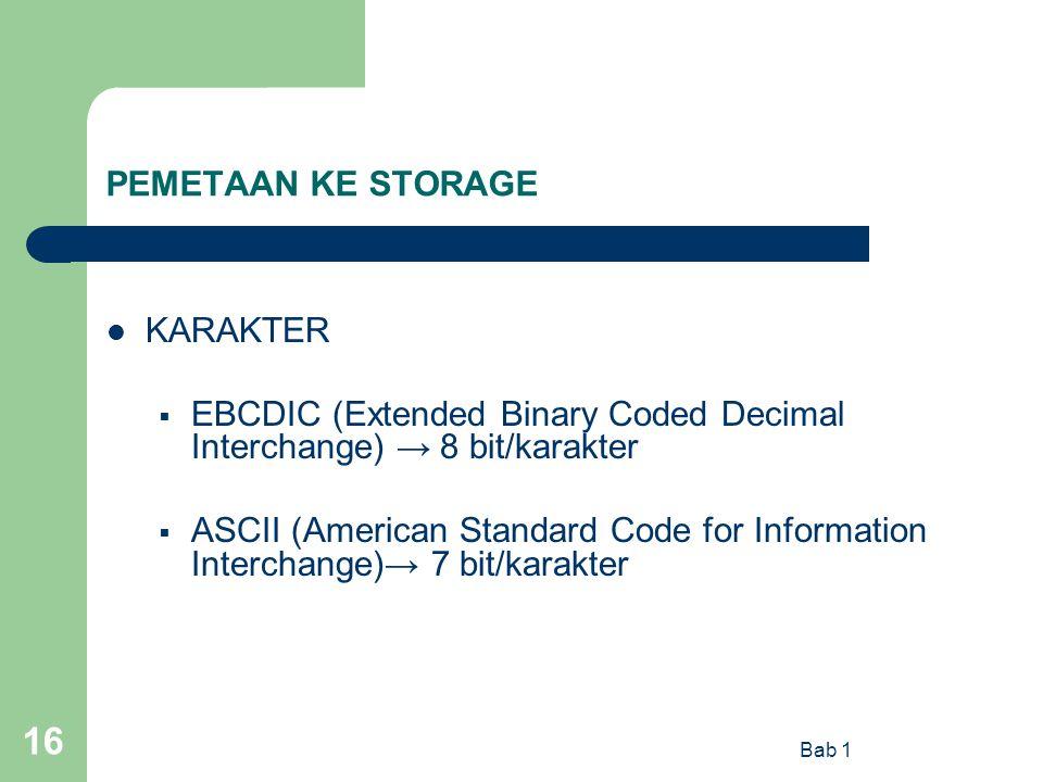 EBCDIC (Extended Binary Coded Decimal Interchange) → 8 bit/karakter