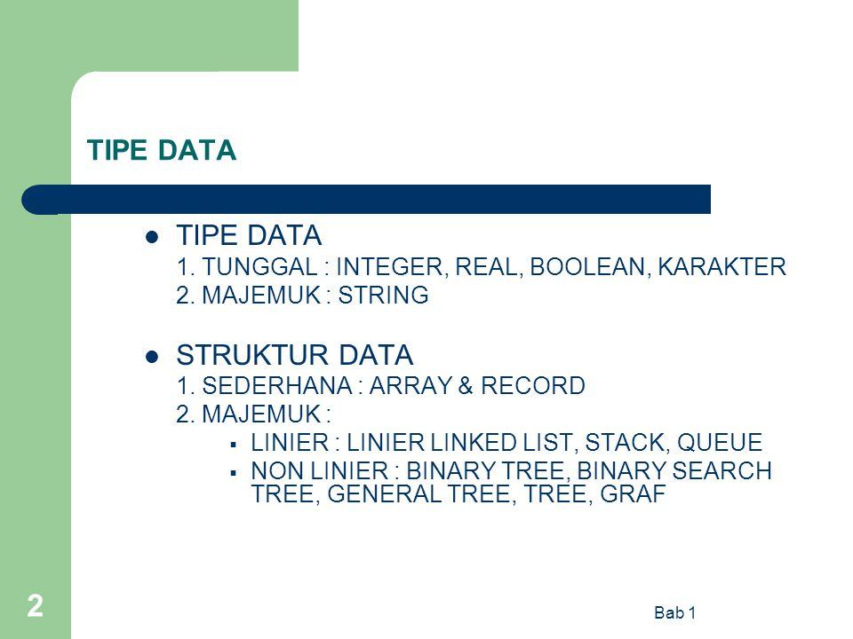 TIPE DATA TIPE DATA STRUKTUR DATA