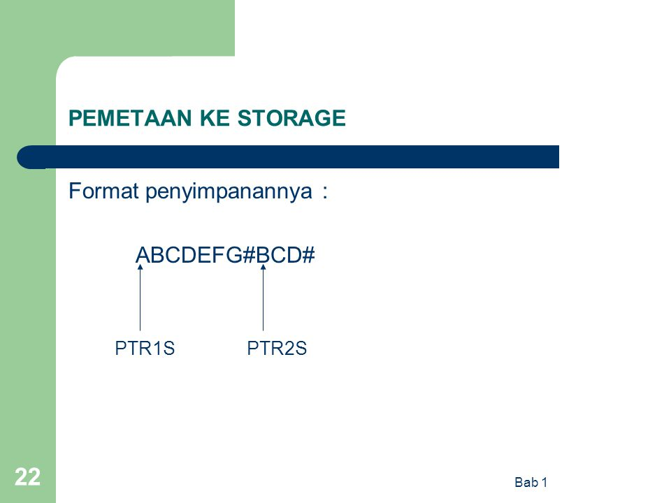 Format penyimpanannya : ABCDEFG#BCD#