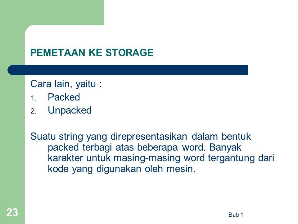 PEMETAAN KE STORAGE Cara lain, yaitu : Packed Unpacked