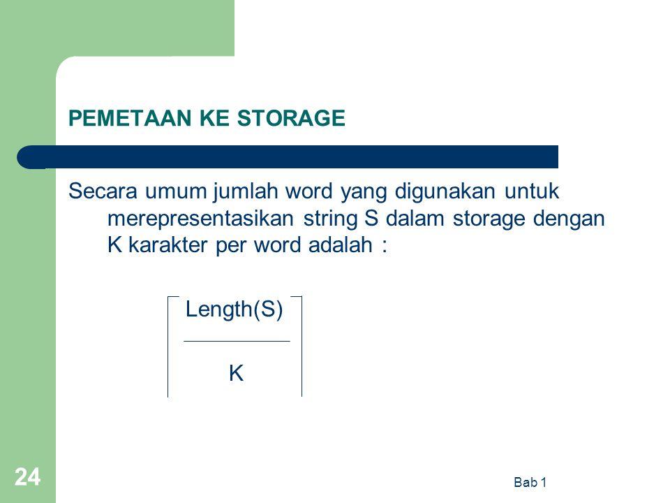 PEMETAAN KE STORAGE Secara umum jumlah word yang digunakan untuk merepresentasikan string S dalam storage dengan K karakter per word adalah :