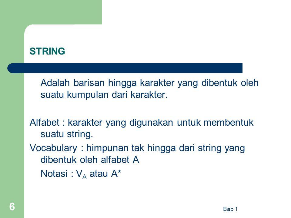 Alfabet : karakter yang digunakan untuk membentuk suatu string.