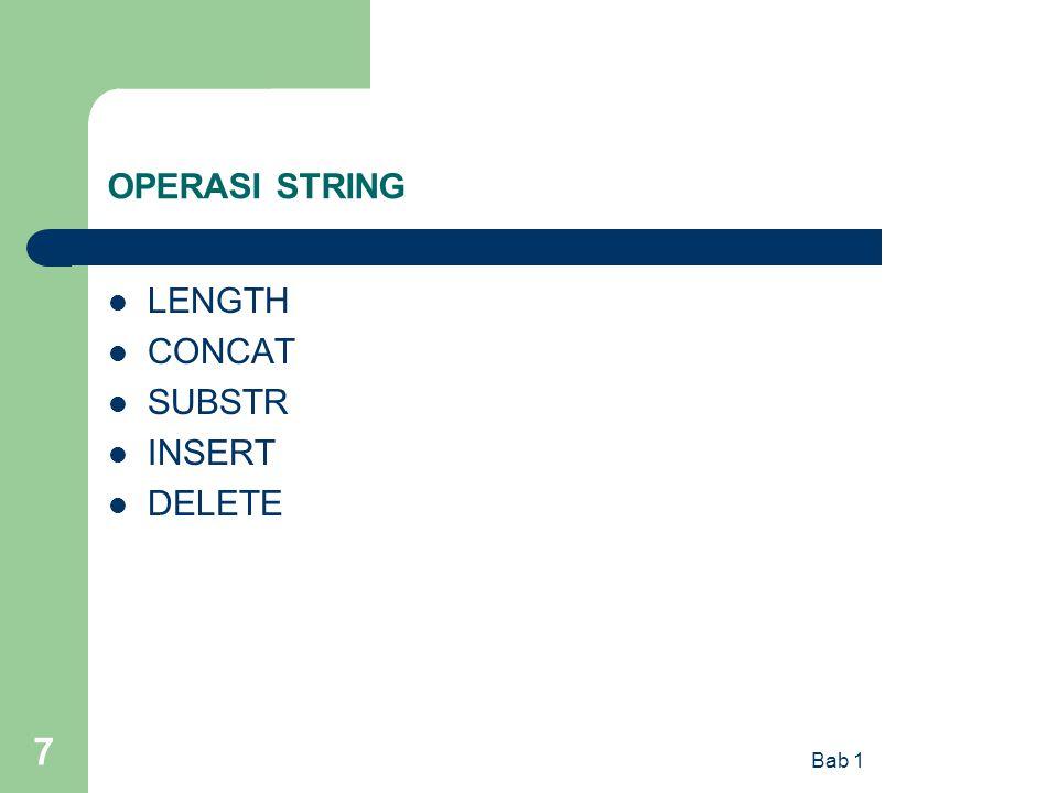 OPERASI STRING LENGTH CONCAT SUBSTR INSERT DELETE Bab 1