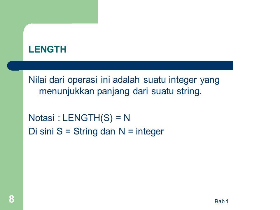 Di sini S = String dan N = integer