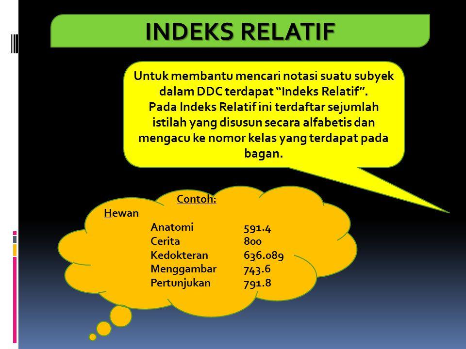 INDEKS RELATIF Untuk membantu mencari notasi suatu subyek dalam DDC terdapat Indeks Relatif .