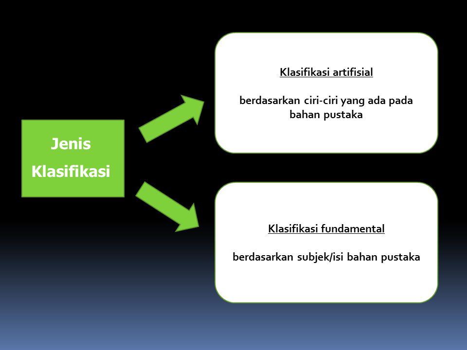 Jenis Klasifikasi Klasifikasi artifisial