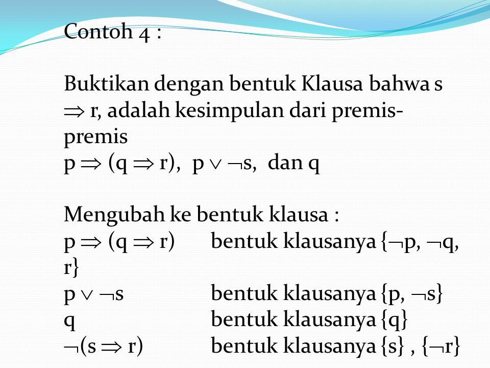 Contoh 4 : Buktikan dengan bentuk Klausa bahwa s  r, adalah kesimpulan dari premis-premis. p  (q  r), p  s, dan q.