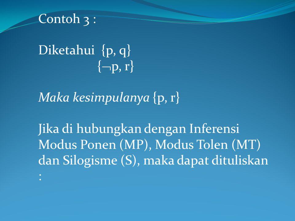 Contoh 3 : Diketahui {p, q} {p, r} Maka kesimpulanya {p, r}
