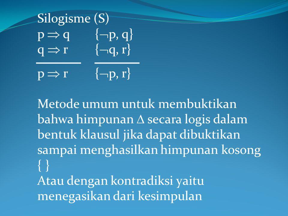 Silogisme (S) p  q {p, q} q  r {q, r} p  r {p, r}